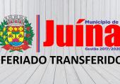 GOZO DO FERIADO DO ANIVERSÁRIO DE JUÍNA É TRANSFERIDO; CONFIRA A NOVA DATA
