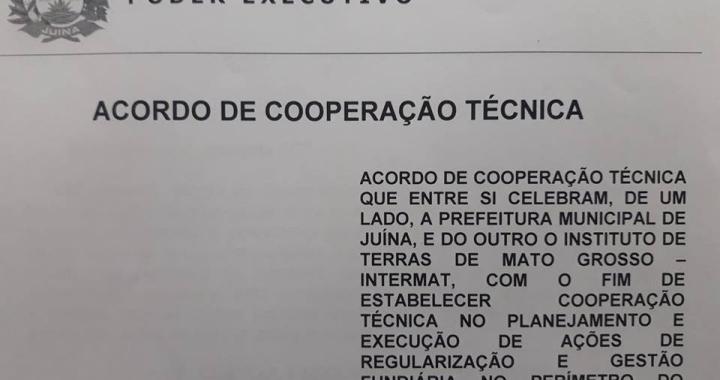 Município de Juína celebra acordo de cooperação técnica com INTERMAT