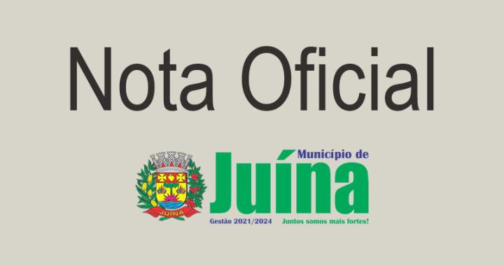 NOTA OFICIAL - SAÍDA DO SECRETÁRIO DE SAÚDE DO MUNICÍPIO DE JUÍNA