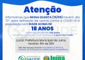 """Dia """"D"""" de vacinação nessa quarta 15/09 para população acima de 18 anos"""